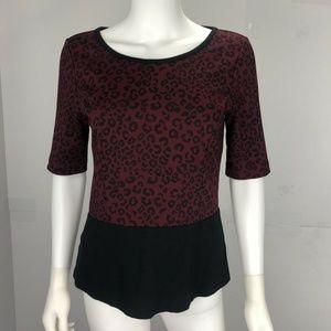 Ann Taylor Small Red Black Cheetah Print Blouse